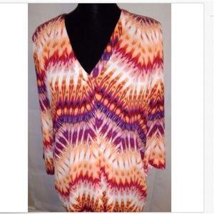 Ana Women's Orange & Purple Blouse Size XL